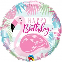 "Фольгированный шар с фламинго ""Happy Birthday"""